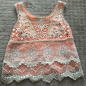 Lace / neon tank! From urban outfitters
